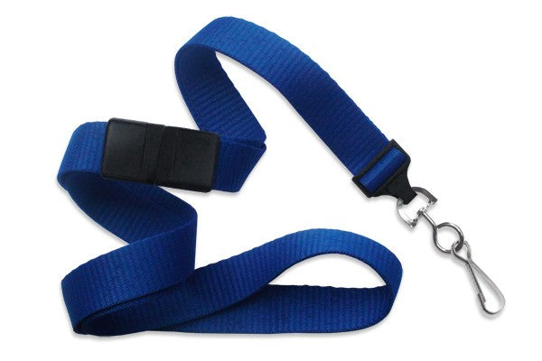 "2138-5002 Royal Blue 5/8"" (16 mm) Breakaway Lanyard with Nickel-Plated Steel Swivel Hook"