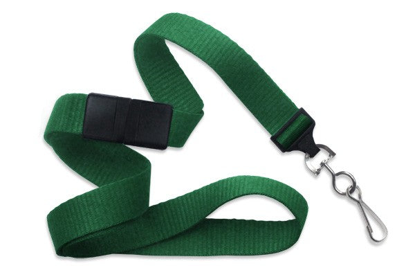 "2138-5004 Green 5/8"" (16 mm) Breakaway Lanyard with Nickel-Plated Steel Swivel Hook"