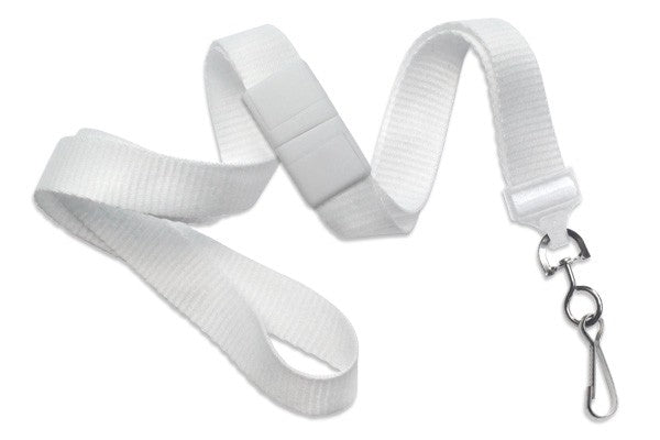 "2138-5008 White 5/8"" (16 mm) Breakaway Lanyard with Nickel-Plated Steel Swivel Hook"