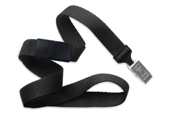 "2138-6001 Black 5/8"" (16 mm) Breakaway Lanyard with Nickel-Plated Steel Bulldog Clip"
