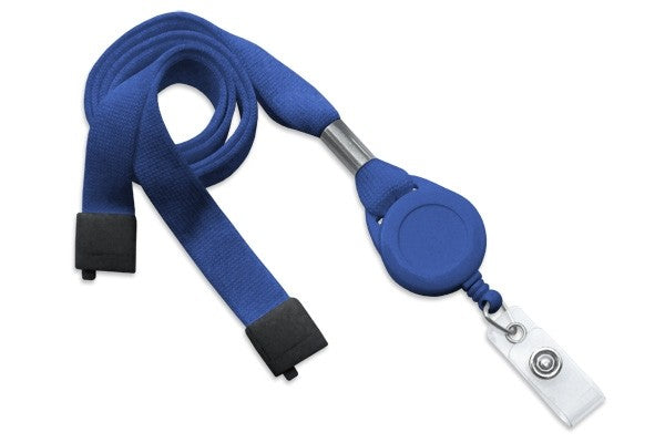 "2138-7004 Royal Blue 5/8"" (16 mm) Flat Tubular Lanyard W/ Breakaway & Slotted Reel And Clear Vinyl Strap"