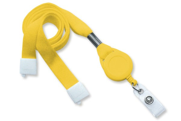 "2138-7009 Yellow 5/8"" (16 mm) Flat Tubular Lanyard W/ Breakaway & Slotted Reel And Clear Vinyl Strap"