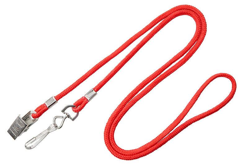 2140-5906 Red Open Ended Lanyard with Swivel Hook & Bulldog Clip
