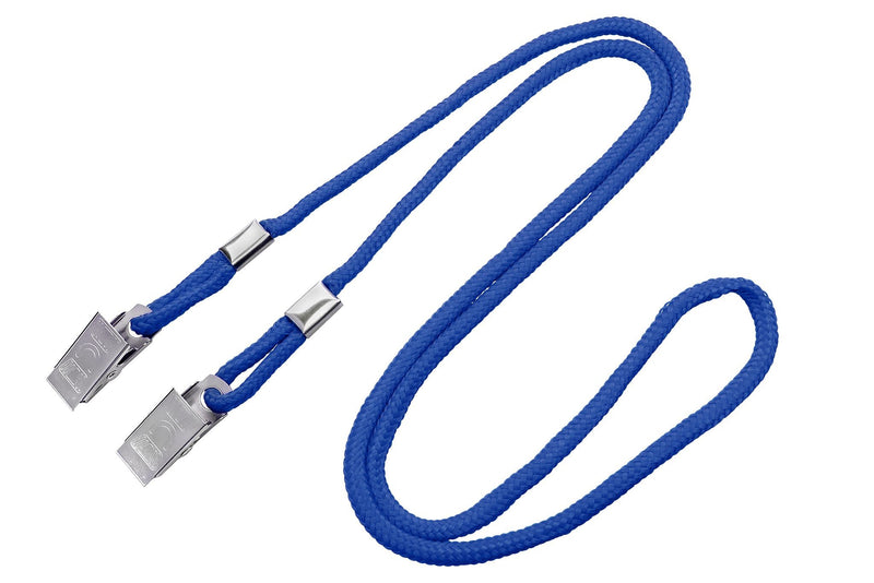 2140-6002 Royal Blue Open Ended Lanyard with 2 Bulldog Clips