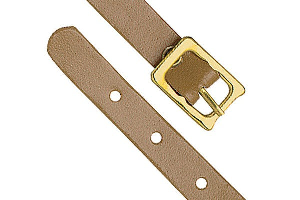 2420-1007 Tan Genuine Leather Luggage Strap with Brass-Plated Buckle, 5 Holes