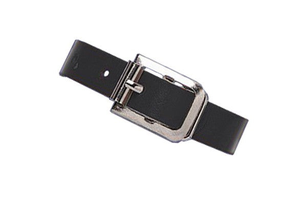 2420-1071 Black Genuine Leather Luggage Strap with Nickel-Plated Steel Buckle, 3 Holes