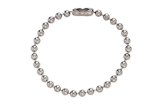 "Nickel-Plated Steel Ball Chain, 4 1/2"", No 6 Bead Size 2450-1000"