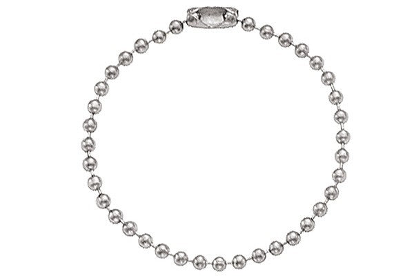 "Nickel-Plated Steel Ball Chain, 4 1/2"", No 3 Bead Size 2450-1020"