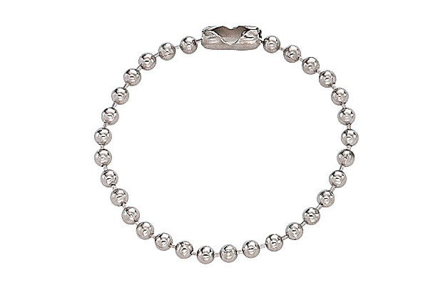 "Nickel-Plated Steel Ball Chain, 4"", No 3 Bead Size 2450-1050"