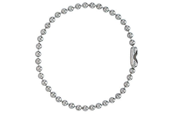 "Nickel-Plated Steel Ball Chain, 5"", No 3 Bead Size 2450-1080"