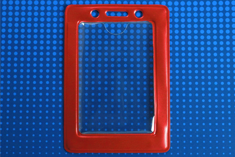 "1820-3006 Clear Vinyl Vertical Badge Holder with Red Color Frame, 2.25"" x 3.44"""