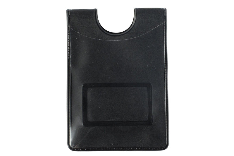 "Black Vinyl Vertical 1-Pocket Magnetic Badge Holder with Thumb-Notch, 2.35"" x 3.25"""