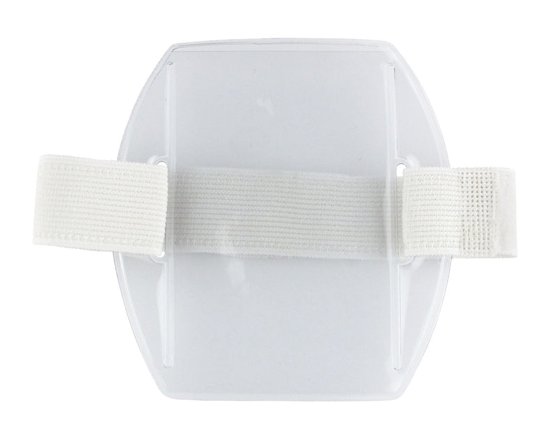 "504-ARFW Clear Vinyl Vertical Arm Band Badge Holder with White Strap, 2.75"" x 3.8"""