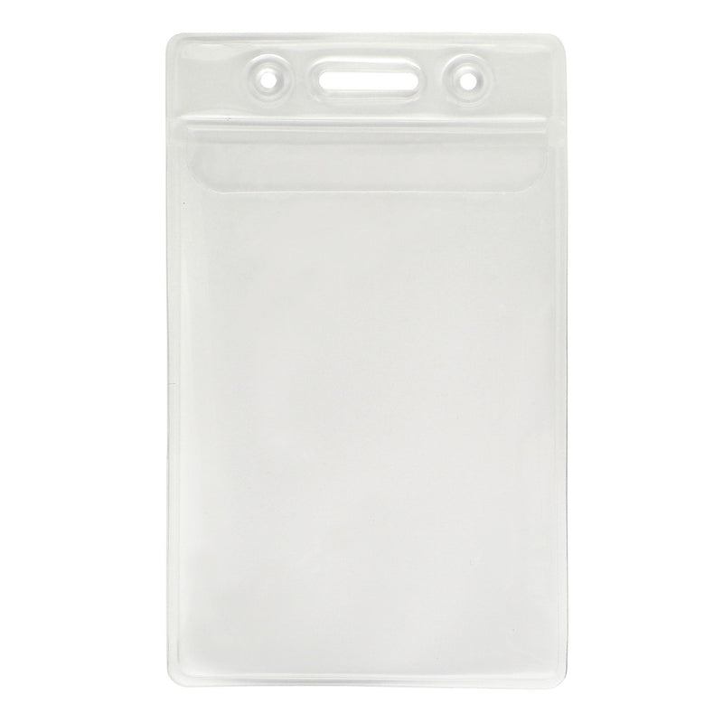 "506-24FS Clear Vinyl Vertical Badge Holder with Fold-Over Flap, 2.3"" x 3.48"""