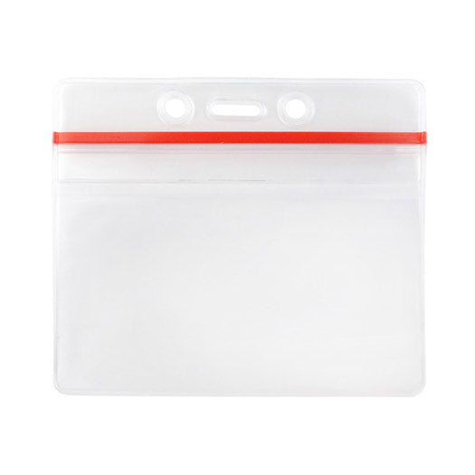 VBH-ZIP-H-RED Resealable Badge Holder with Zip Loc