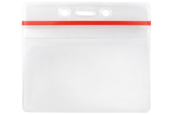 "506-ZHOSJ Clear Vinyl Horizontal Anti-Print Transfer Badge Holder with Resealable Closure, 3.63"" x 2.5"""