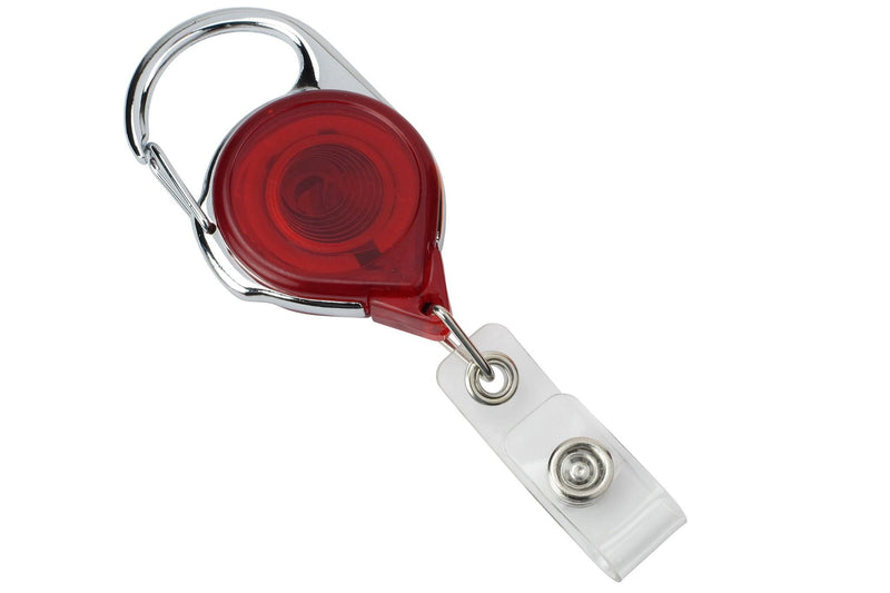 704-TR-RED Translucent Red Carabiner Reel With Strap