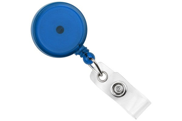 909-TR-RBLU Translucent Blue Round Max Label Reel With Strap And Swivel Clip