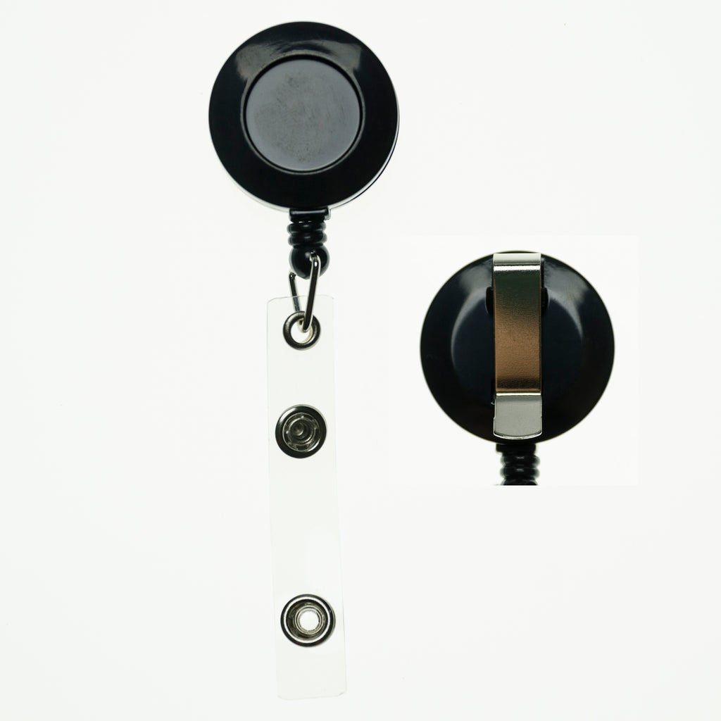 RBR-ECC Black Retractable Badge Reels with Strap Clip and Belt Clip