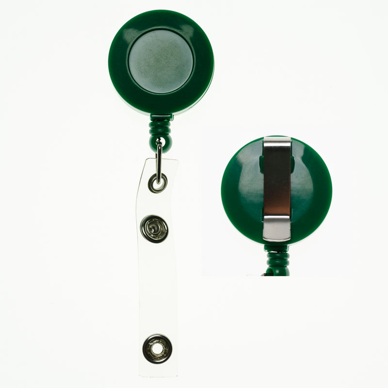 RBR-ECC - Green Retractable Badge Reels with Strap Clip and Belt
