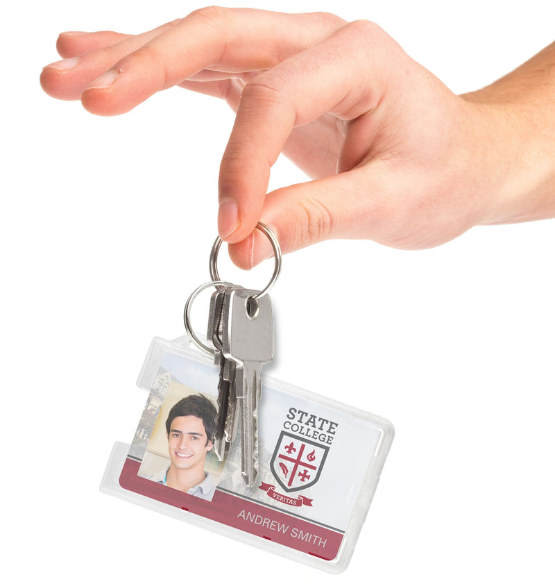 706-RNG Horizontal Badge holder with Key Ring 2.13 x 3.38""