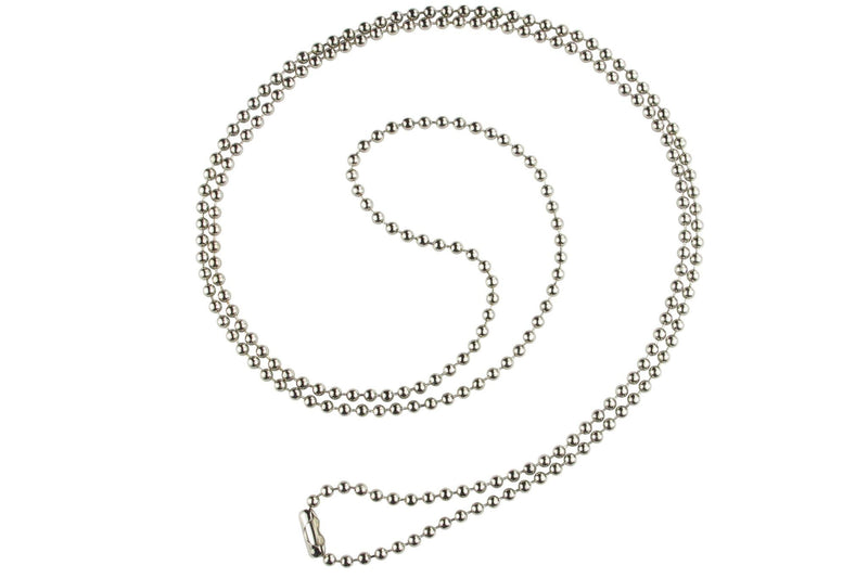 "Nickel-Plated Steel Beaded Neck Chain, Length 30"" (762mm) 2125-1500"