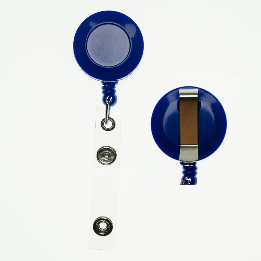 RBR-ECC-Royal Blue Retractable Badge Reels with Strap Clip and Belt clip