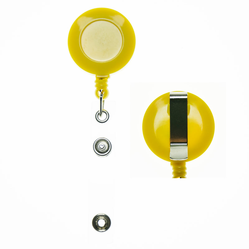 RBR-ECC Yellow Retractable Badge Holder with Strap Clip and Belt