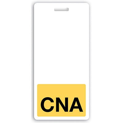 "Vertical ""CNA"" Badge Buddies, Yellow with Black Text (2 1/8"" X4 1/2"")"