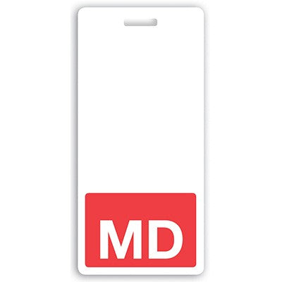 "GRV-BBV-MD Vertical ""MD"" Badge Buddies, Red (2 1/8"" X4 1/2"")"