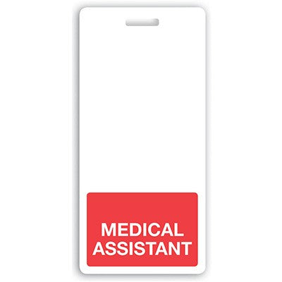 "Vertical ""MEDICAL ASSISTANT"" Badge Buddies Red (2 1/8"" X4 1/2"")"
