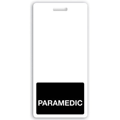 "Vertical ""PARAMEDIC"" Badge Buddies, Black (2 1/8"" X4 1/2"")"