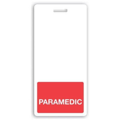 "Vertical ""PARAMEDIC"" Badge Buddies, Red (2 1/8"" X4 1/2"")"