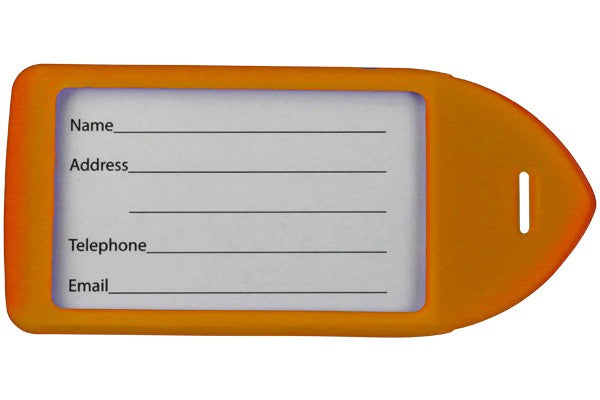 Neon Orange Rigid Plastic Luggage Tag Holder 1849-6214