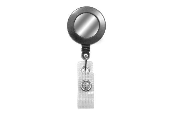 2120-3120 Gray Badge Reel with Silver Sticker, Reinforced Vinyl Strap & Belt Clip
