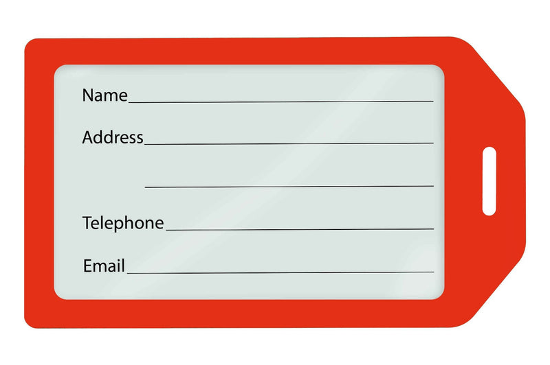 1840-6206 Red Rigid Plastic Luggage Tag Holder