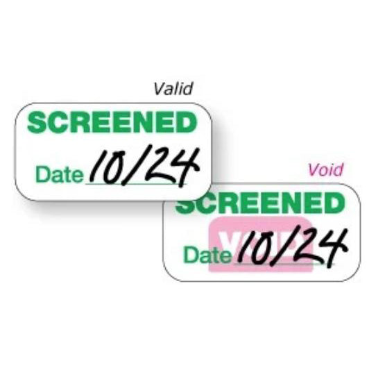 "Expiring Screened Badge Stickers (1"" x 2"")"