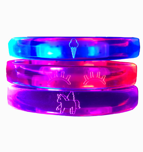 Glow in the Dark Unicorn Led Bracelets, Blue, Red and Purple