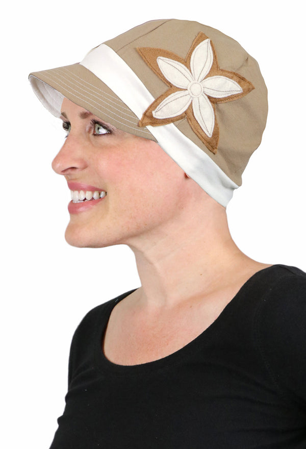 Whimsy Soft Cotton Hat Chemo Headwear for Women Americano With Cream