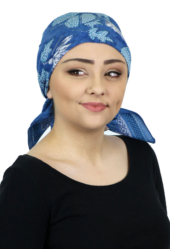 Aravalli Cotton Head Scarf Chemo Headwear for Women Lily Pads