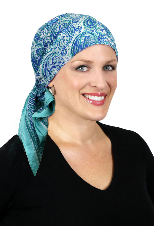 Aravalli Cotton Head Scarf Chemo Headwear for Women Sea Swirl