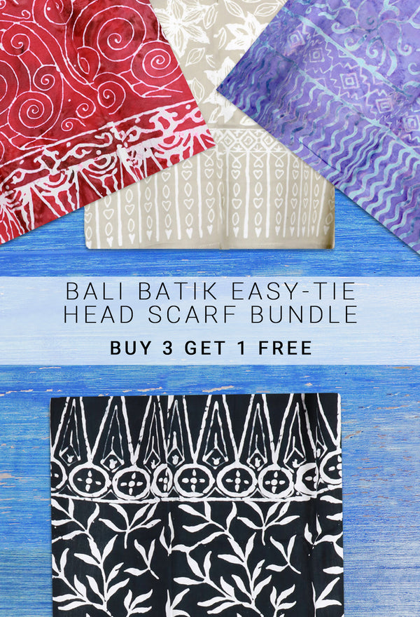 Bali Batik Easy-Tie Head Scarves — Buy 3 Get 1 Free