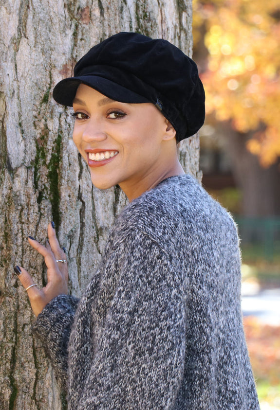 Black Velvet Newsboy Cap for Women