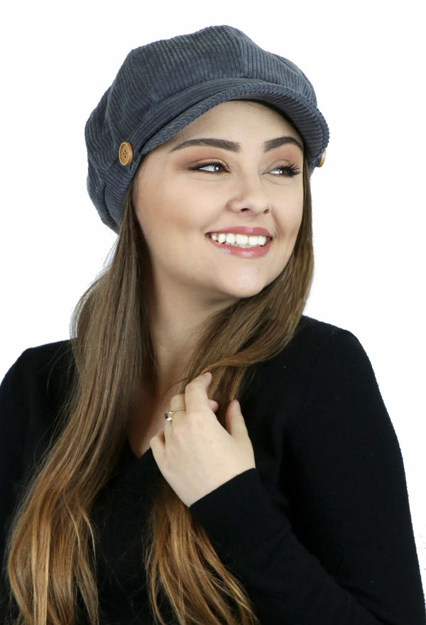 Brianna Corduroy Newsboy Cabbie Hat for Women