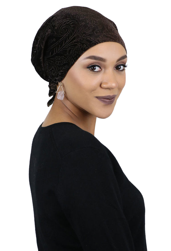 Celeste Velvet Brocade Pre-Tied Head Scarf - Short Ties