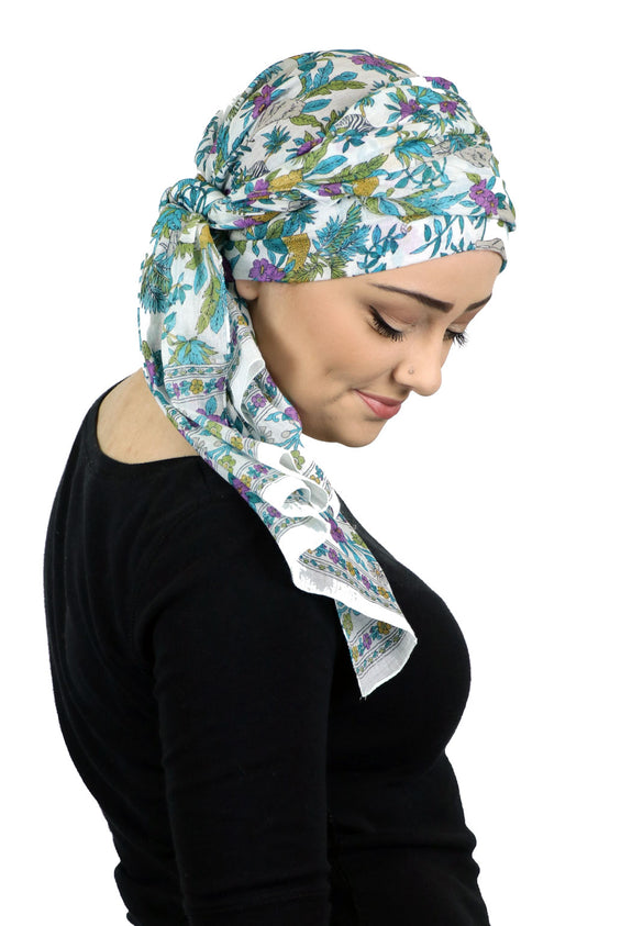 Caracia Cotton Head Scarves Lightweight Summer Head Wraps Chemo Headwear for Women Safari