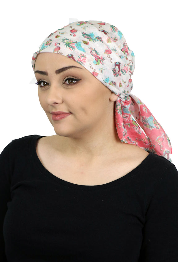 "Caracia Cotton Head Scarf Lightweight Summer Chemo Headwear for Women 31"" Square Flamingos"