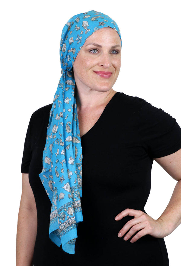 Caracia Cotton Head Scarves Lightweight Summer Head Wraps Chemo Headwear for Women Seashore