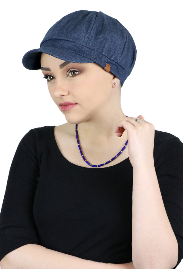 Forever In Blue Jeans Denim Newsboy Cap for Women