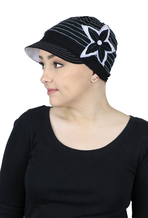 Whimsy Cotton Chemo Hat for Women Ebony & Ivory
